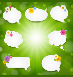 speech bubble big set with sunburst background vector image