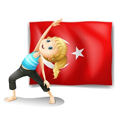 The flag of Turkey with a girl exercising vector image