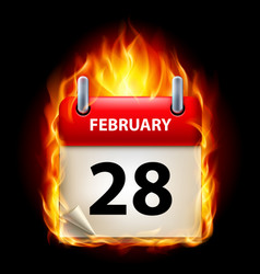 twenty-eighth february in calendar burning icon vector image vector image