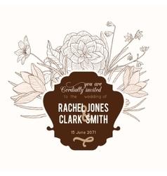 Vintage Chocolate Brown Frame Floral vector