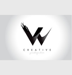 w letter design with brush stroke and modern 3d vector image