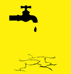 Water tap on the dried cracked land vector