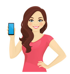 Woman showing phone vector