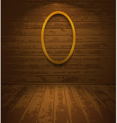 Wooden room with elliptic frame vector image