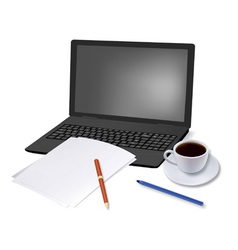 coffee and laptop and paper shut vector image vector image