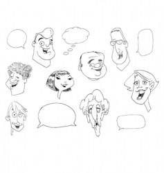 faces doodle vector image vector image