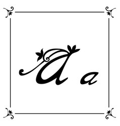 floral alphabet brush letters vector image