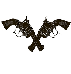 Black and white crossed gun - art vector