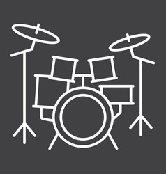 drum kit line icon music and instrument vector image vector image