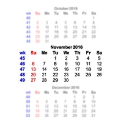 November 2016 Calendar week starts on Sunday vector image