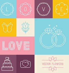 set of linear icons for wedding invitations vector image vector image