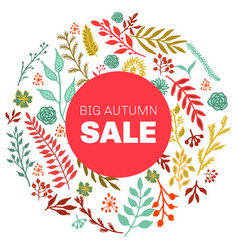 autumn sale round floral pattern vector image vector image