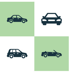 car icons set collection of convertible model vector image