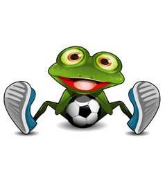 frog sitting with a soccer ball vector image vector image