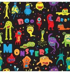 Monster seamless pattern vector image