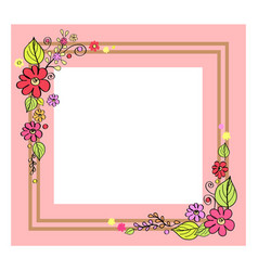 pink frame with flowers on vector image vector image