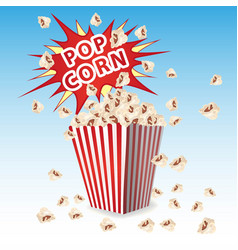popcorn in a striped container the explosion vector image