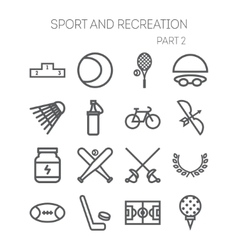 Set of simple icons for sport recreation web vector image