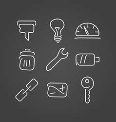 Technical tools set icons draw effect vector image