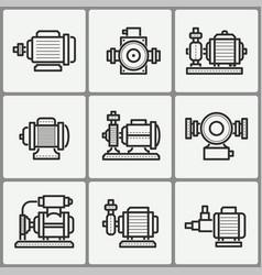 water pump icons set vector image