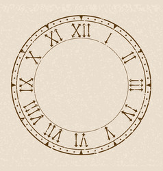 Clock face blank clock with roman numerals on vector