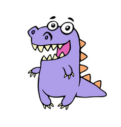 cute smiling purple dinosaur vector image