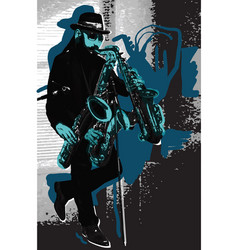 music musician bearded sax player in blue vector image