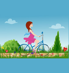 pregnant young woman riding bike on spring vector image vector image