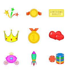 reward for the winner icons set cartoon style vector image