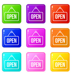 sign open icons 9 set vector image vector image