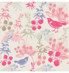 Vintage Birds Berries Pattern vector image vector image