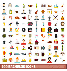 100 bachelor icons set flat style vector image