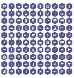 100 exotic animals icons hexagon purple vector image
