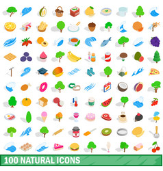 100 natural icons set isometric 3d style vector