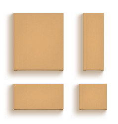 3d brown cardboard craft box isolated on white vector