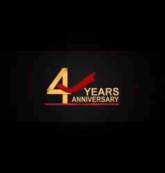 4 years anniversary design with red ribbon vector