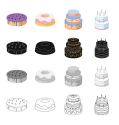 A festive cake and other types of dessert cakes vector