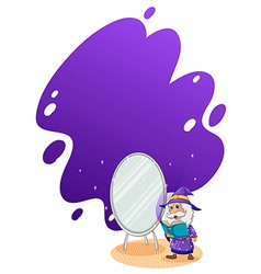 A wizard doing a spell in front of the mirror vector