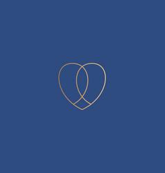 abstract gold linear heart icon logo vector image