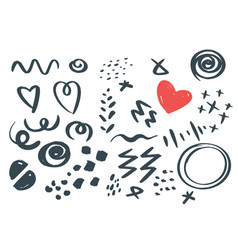 abstract hand drawn scribbles set vector image