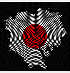 abstract map tokyo radial dots with flag japan vector image