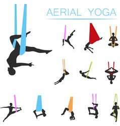 Aerial yoga set with young woman silhouettes vector