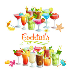 Alcoholic cocklails banners vector