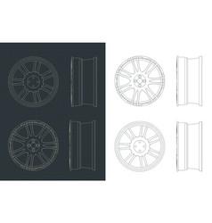 Alloy wheels blueprints vector
