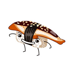 Anago sushi with happy face vector