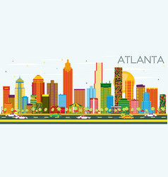 Atlanta skyline with color buildings and blue sky vector