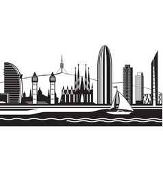 barcelona sityscape from sea vector image