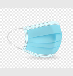 blue protective face mask isolated on transparent vector image