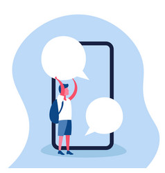 boy holding chat bubble online mobile application vector image