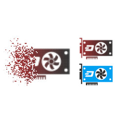 Broken pixel halftone dash video gpu card icon vector